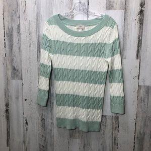 Loft Pale Teal/White Striped Sz M Sweater NWOT